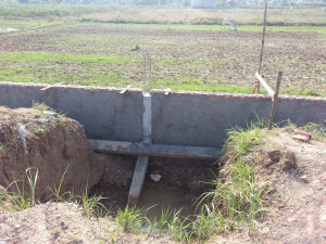 The foundation of the back fence