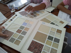 Selecting material to use for the external walls of the buildings