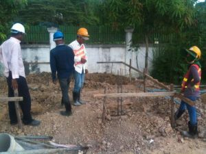 Setting up the level of the ground slab
