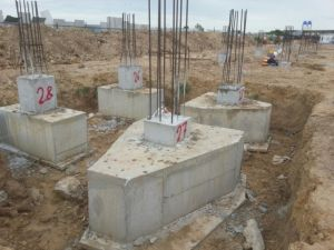 Pile-caps with stump columns ready for backfilling